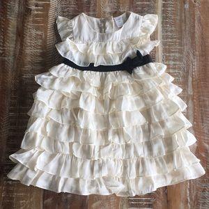 Baby Gap cream ruffle satin party formal dress